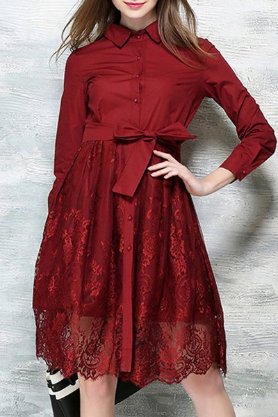Lace Spliced Bowknot Turn-Down Collar Long Sleeve Dress