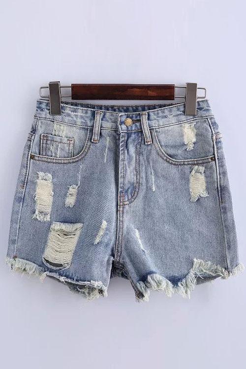 High-Waisted Ripped Denim Shorts