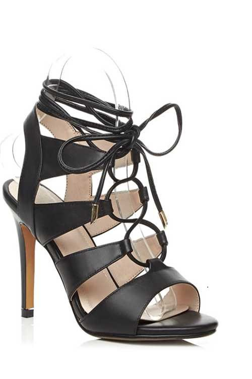 Lace-Up Hollow Out Stiletto Heel SandalsShoes<br><br><br>Size: 37<br>Color: BLACK