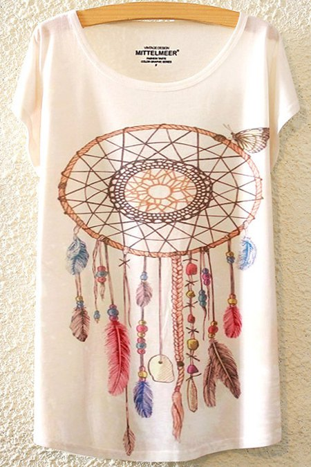 Loose Printed Round Neck Bat-Wing Sleeve T-Shirt