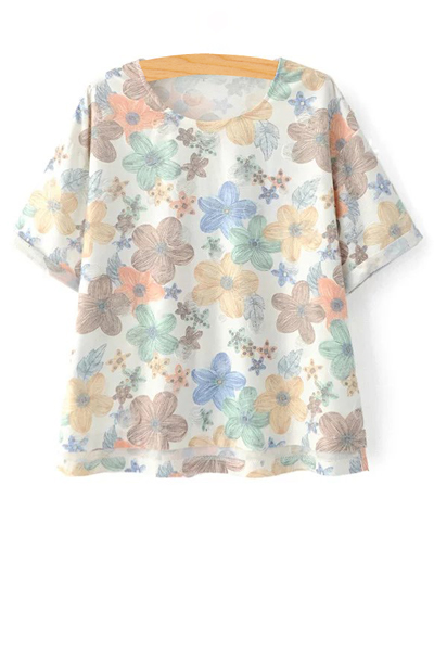 Jewel Neck Short Sleeve Full Floral T-Shirt