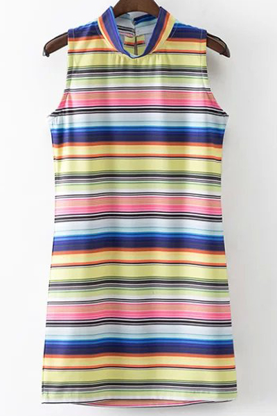 Stand Neck Sleeveless Colored Stripe Dress