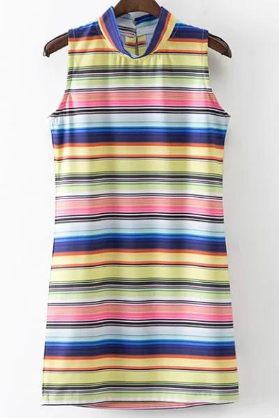 Stand Neck Sleeveless Colored Stripe Dress