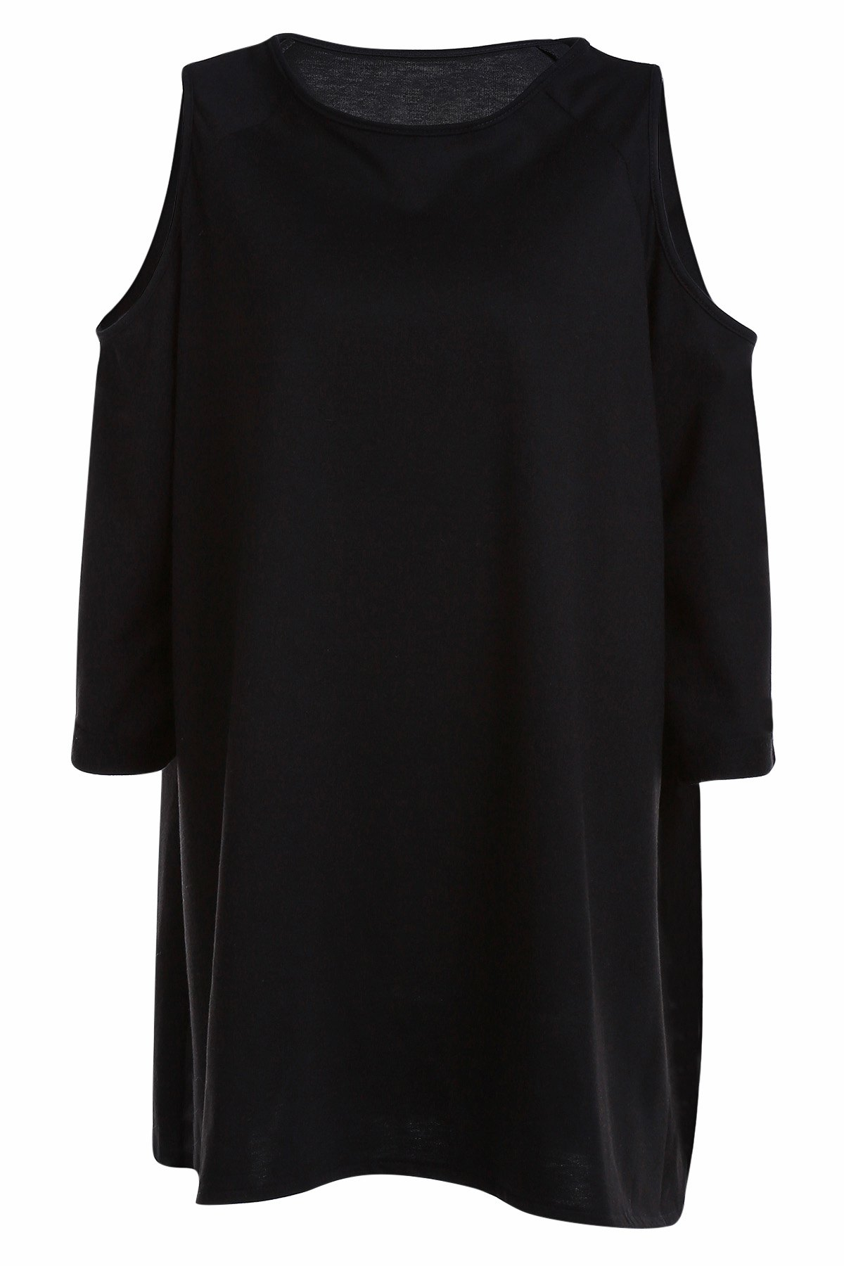 Round Collar Cold Shoulder Black T-Shirt