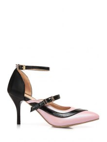 Buy Color Block Buckle Pointed Toe Pumps - PINK 34