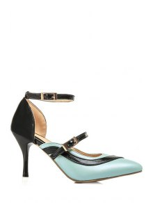 Buy Color Block Buckle Pointed Toe Pumps - BLUE 34
