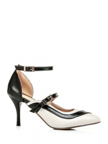 Buy Color Block Buckle Pointed Toe Pumps 34 WHITE