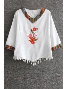Floral Embroidered Ethnic T-Shirt