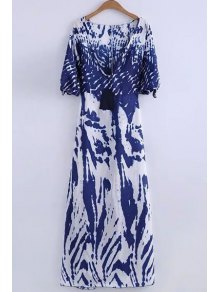 Deep V Neck Printed Long Dress