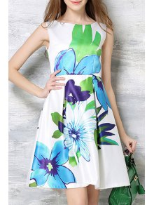 Flower Print Round Neck Sleeveless Dress