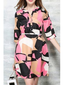 Hit Color Printed Stand Neck Half Sleeve Dress