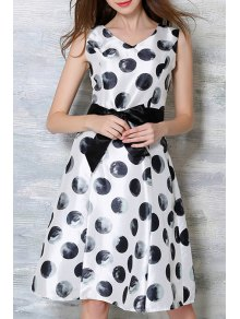 Bowknot Polka Dot Round Neck Sleeveless Dress