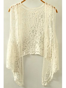 Cut Out Irregular Collarless Sleeveless Crochet Blouse