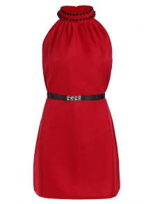 Solid Color Rivet Round Neck Sleeveless Dress