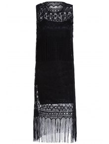 Black Cut Out Round Neck Sleeveless Lace And Solid Color Fitting Spaghetti Straps Twinset - Black