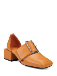Buy Square Toe Buckle Chunky Heel Pumps 37 BROWN