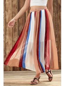 Color Block High Waist Chiffon Skirt - L