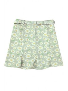 Flounce Ruffles Daisy Print High Waist Skirt