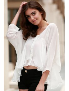 Solid Color 3/4 Sleeve Cropped Blouse