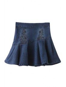 Embroidery High Waist Denim A Line Skirt - Deep Blue S