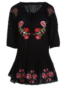 Floral Embroidery 3/4 Sleeve Waisted Blouse