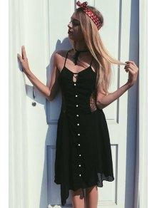 Black Spaghetti Strap With Lace Asymmetric Dress - BLACK S