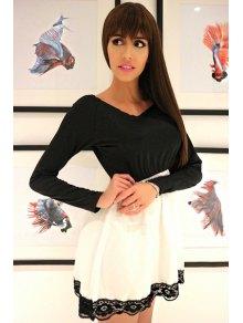 Lace Hem Long Sleeve Mini Dress WHITE AND BLACK: Long Sleeve ...