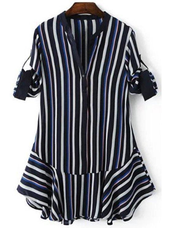Rayas del color del golpe cuello en V 3/4 de vestir de manga - Azul Purpúreo L