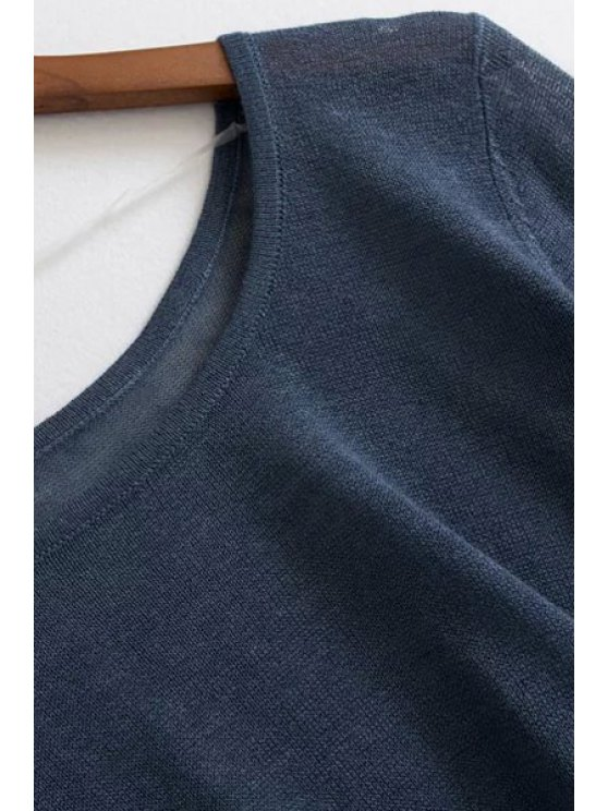 Loose High-Low Round Neck Long Sleeve Sweater - LIGHT BLUE ONE SIZE(FIT SIZE XS TO M) Mobile