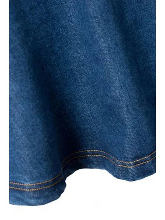 Deep Blue Flare High Waist Denim Skirt - DEEP BLUE XL Mobile