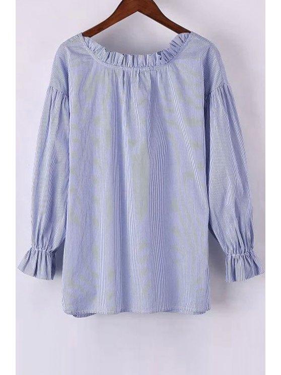 fancy Sweet Striped Round Neck Long Sleeve Blouse - LIGHT BLUE S