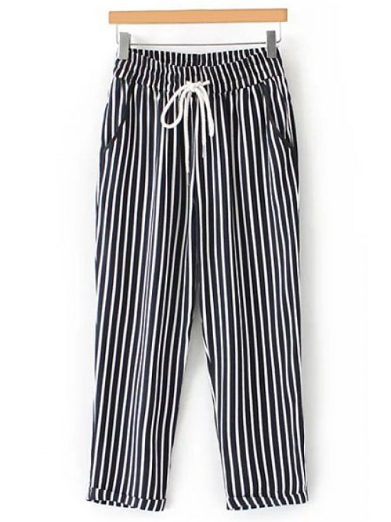 latest Casual Striped High Waist Nine Minutes of Pant - BLACK S