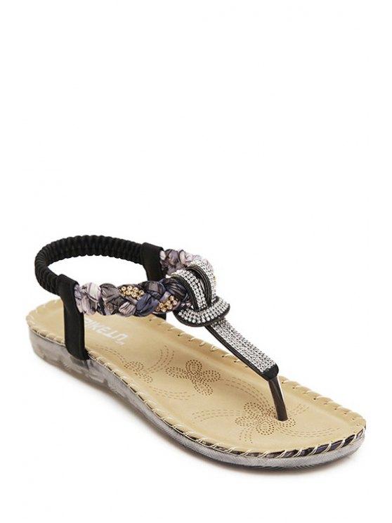 Rhinestone Color Matching sandalias elásticas - Negro 36