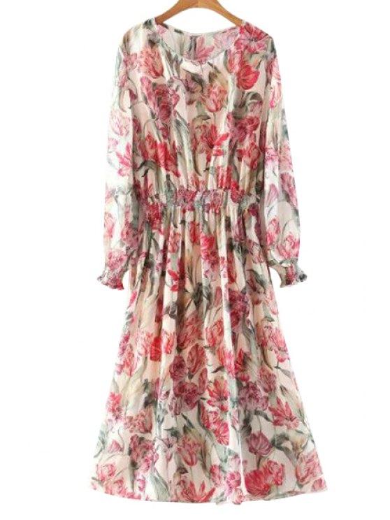 Impresión floral de cuello redondo manga larga vestido de talle - Colormix L
