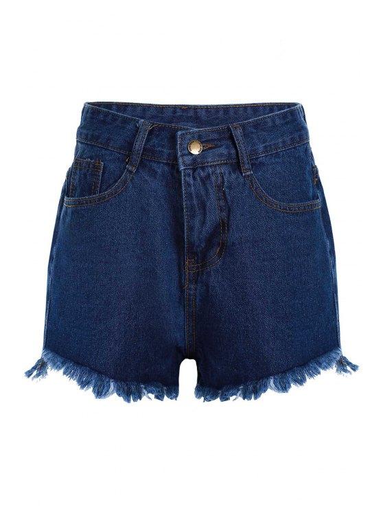 affordable Stylish High Waist Denim Deep Blue Women's Shorts - DEEP BLUE M
