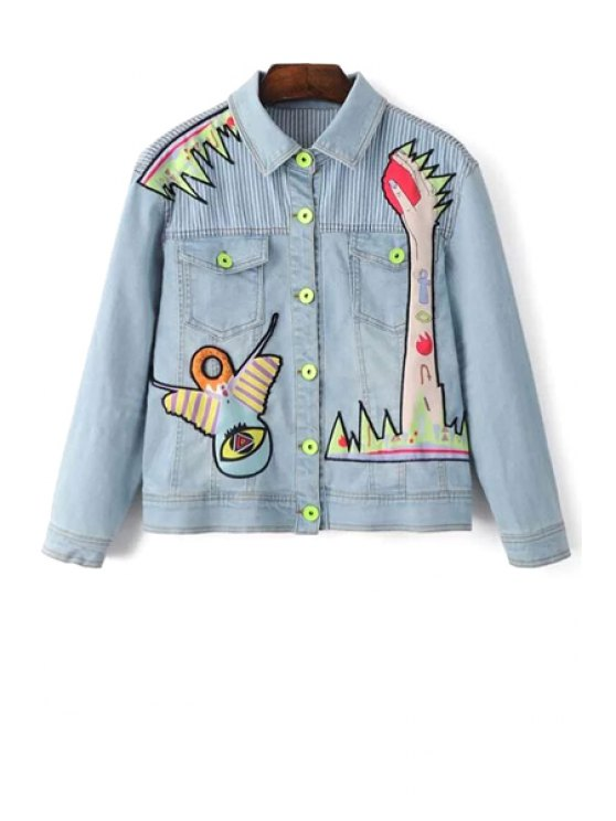 Denim Shirt Collar Long Sleeve Embroidery Jacket - LIGHT BLUE S Mobile