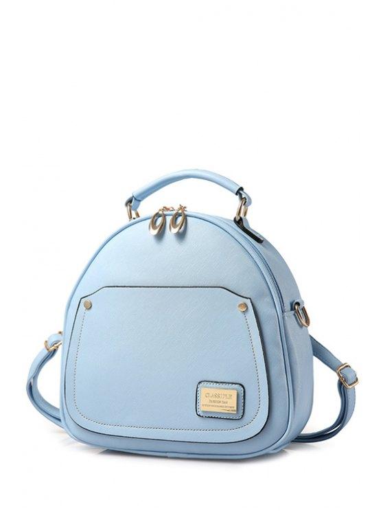 Satchel color sólido de las mujeres de costura del metal - Azul Claro
