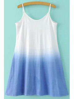 Gradient Color A-Line Camisole Dress - Blue And White Xl