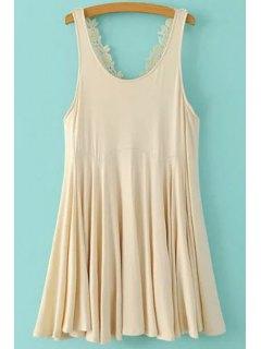Lace Crisscross Back Flippy Dress - Off-white Xl