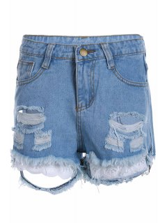 Stylish High Waist Denim Broken Hole Women's Shorts - Light Blue L