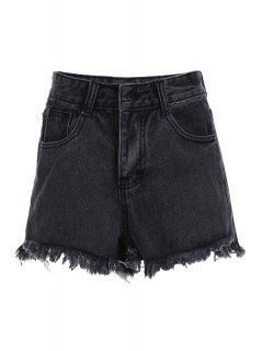 Stylish High Waist Denim Black Women's Shorts - Black L