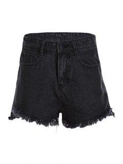 Stylish Wide Leg Black Denim Women's Shorts - Black L