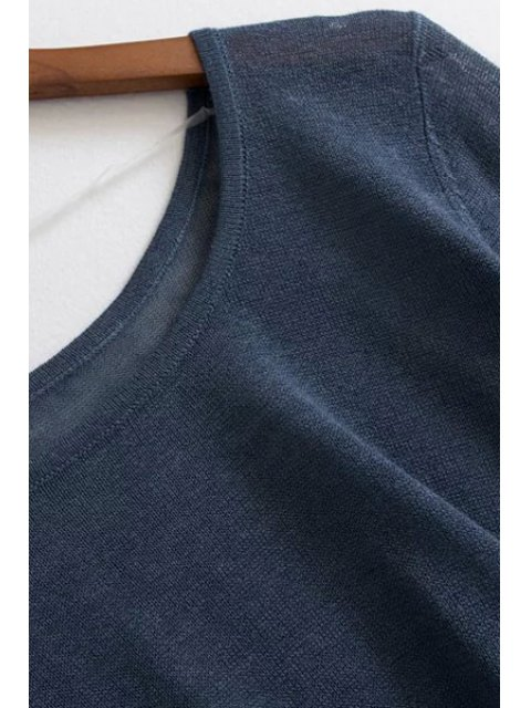 lady Loose High-Low Round Neck Long Sleeve Sweater - LIGHT BLUE ONE SIZE(FIT SIZE XS TO M) Mobile