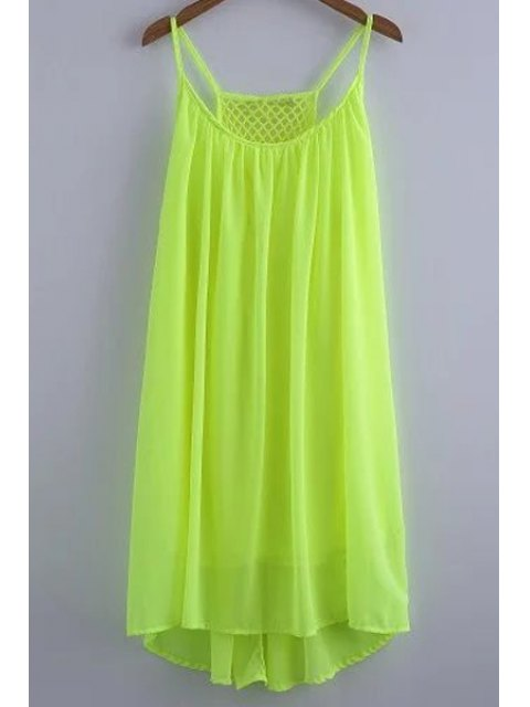 new Chiffon Mesh Design Flippy Dress - GREEN S Mobile
