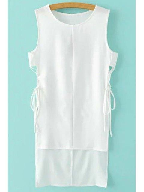 affordable Sleeveless Side Slit High Low Dress - WHITE S Mobile