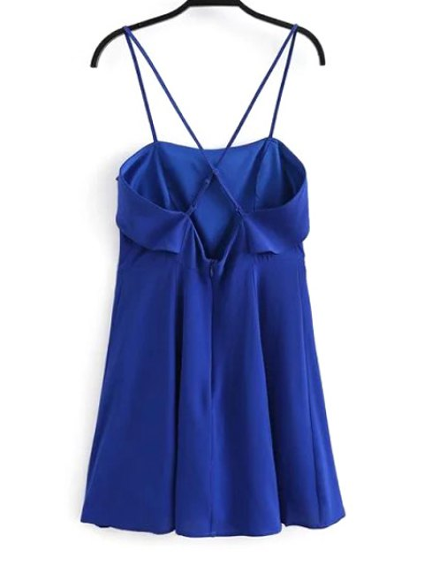 Fitting Solid Color Flounce Ruffles Cami Robe sans manches - Bleu L Mobile