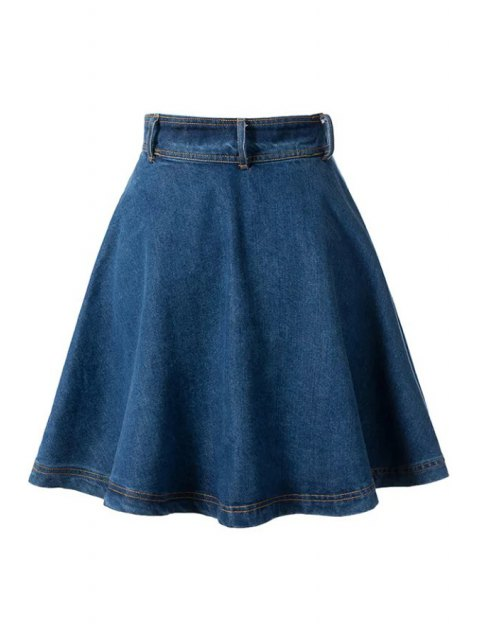 trendy Deep Blue Flare High Waist Denim Skirt - DEEP BLUE M Mobile