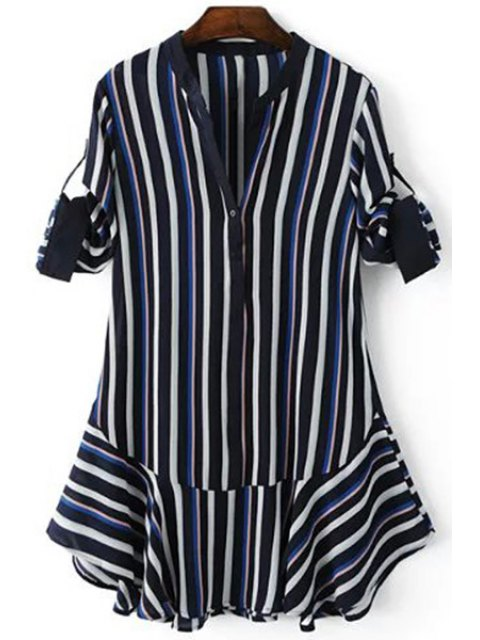 shops Striped Hit Color V Neck 3/4 Sleeve Dress - PURPLISH BLUE L Mobile