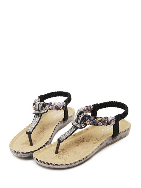 best Rhinestone Color Matching Elastic Sandals - BLACK 36 Mobile