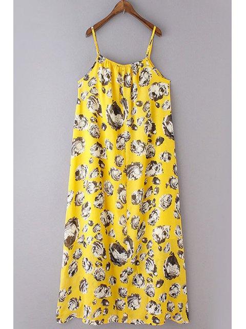 best Loose Flower Print Spaghetti Straps Sleeveless Dress - YELLOW S Mobile